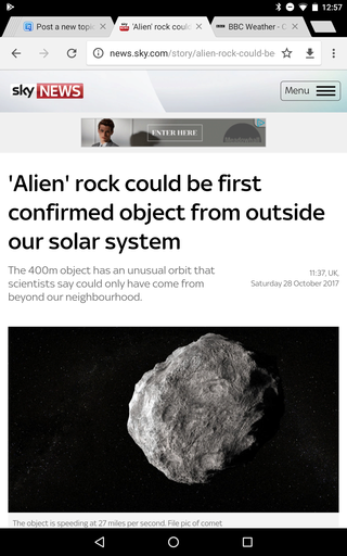 'Alien' rock could be first interstellar visitor Screen22