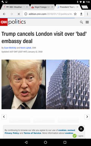 Trump postpones UK visit (mad excuse given) Screen44