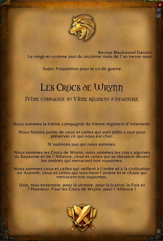 Le cri de guerre des Crocs de Wrynn Wowscr22