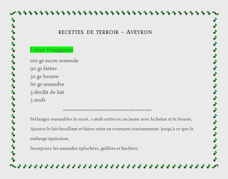 recette de terroir Aveyron, crème frangipane