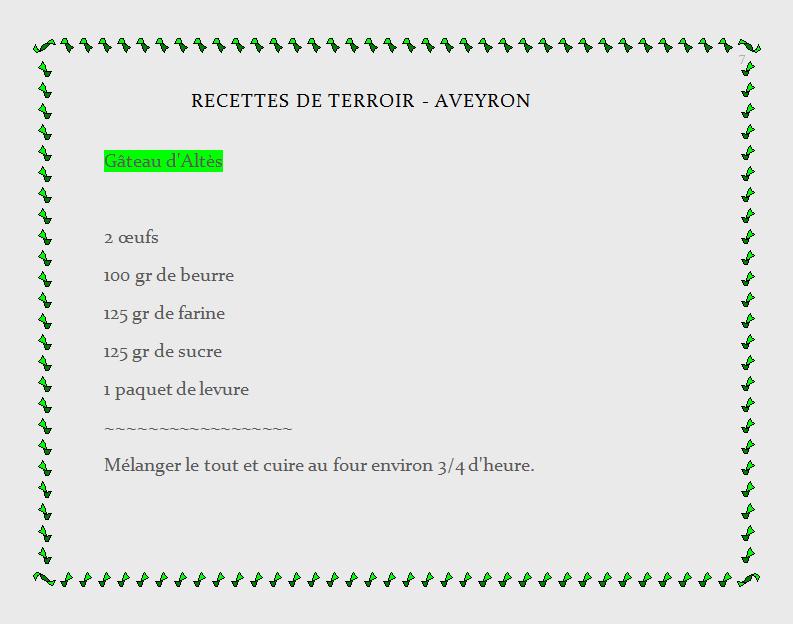 recette de terroir - Aveyron, gâteau d'Altès