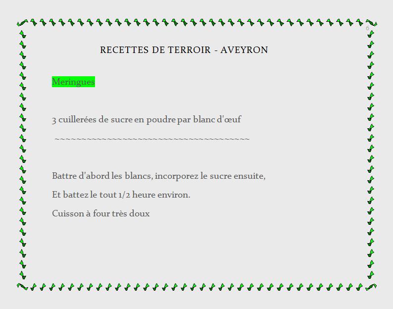 recette de terroir - Aveyron, meringue
