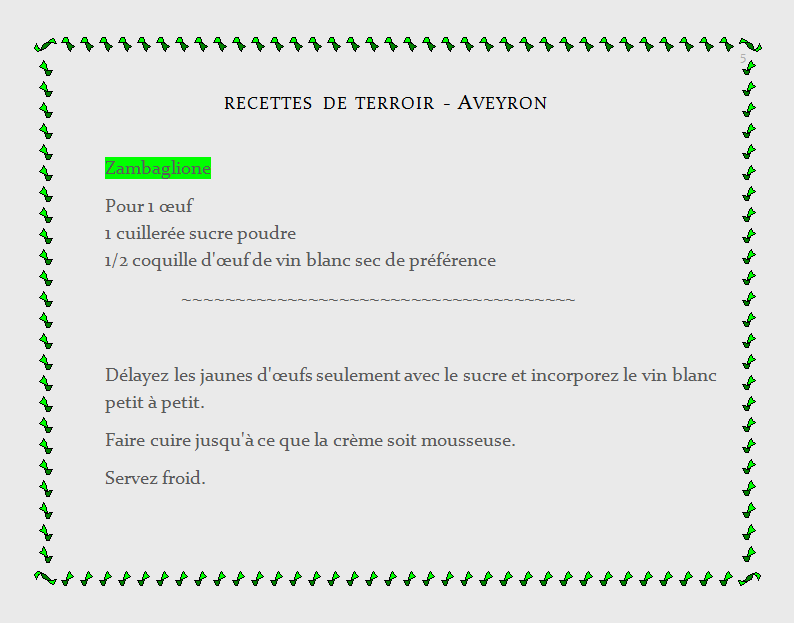 recette de terroir Aveyron, zambaglione
