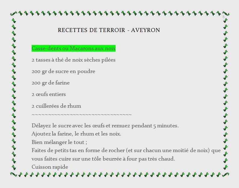 recette de terroir - Aveyron, casse-dents, macaron aux noix