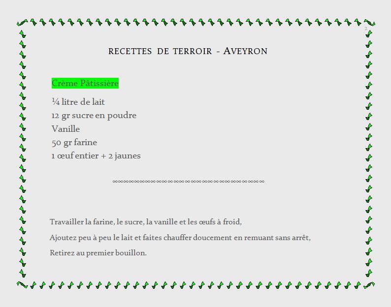 recette de terroir Aveyron, crème pâtissière