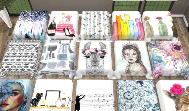 I can´t get out of Bed...Santorini Pillows+Bed Blanket Recolors 710