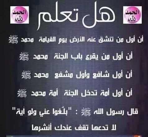 هل تعلم أن أول من تشق عنه الأرض يوم القيامة محمد ( ص )  110