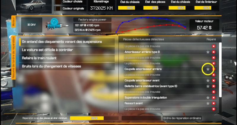 A quoi servent les étoiles dans Car Mechanic Simulator 2018 110