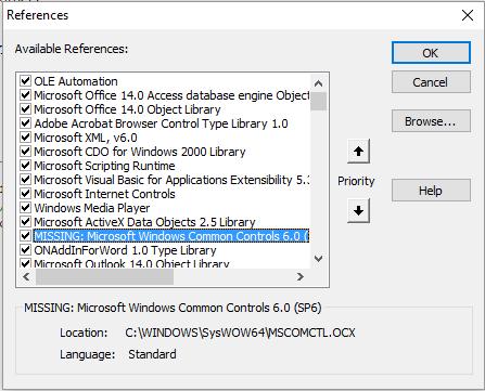 "[Resolvido] Problema com Referencia ""Microsoft Windows Common Controls 6.0 (SP6)"" Captur16"