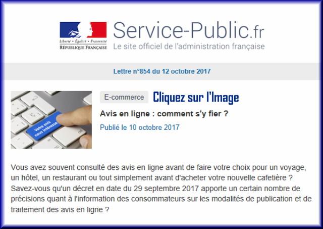 """La lettre N° 854 de """"Service Public"""" pour le 12 Octobre 2017 85410"""