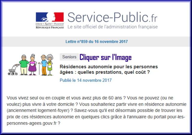 """La lettre N° 859 de """"Service Public"""" pour le 16 Novembre 2017 85910"""