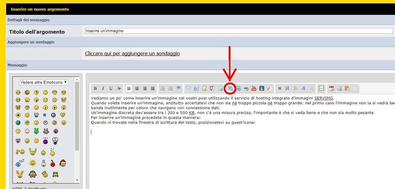 Inserire un'immagine in un post utilizzando il servizio di hosting integrato SERVIMG Host110