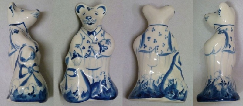 Russian? blue-and-white rat figurine Russia11