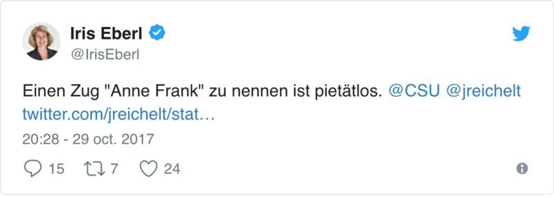 La Deutsche Bahn fait polémique en voulant nommer un train «Anne Frank» 119