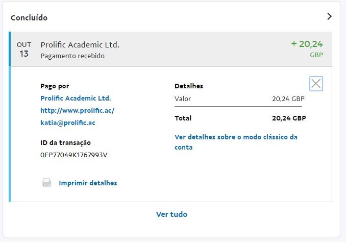 Oportunidade [Provado] Prolific Academic - Ganha entrando em estudos (paga em £)   Pagame11