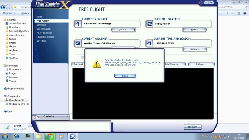 Erro na inicialização do modelo ou failed startup the flight model 22497010