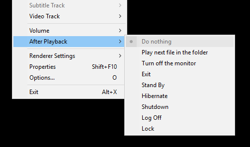 "After playback - Where is ""Always"" option? 2017-110"