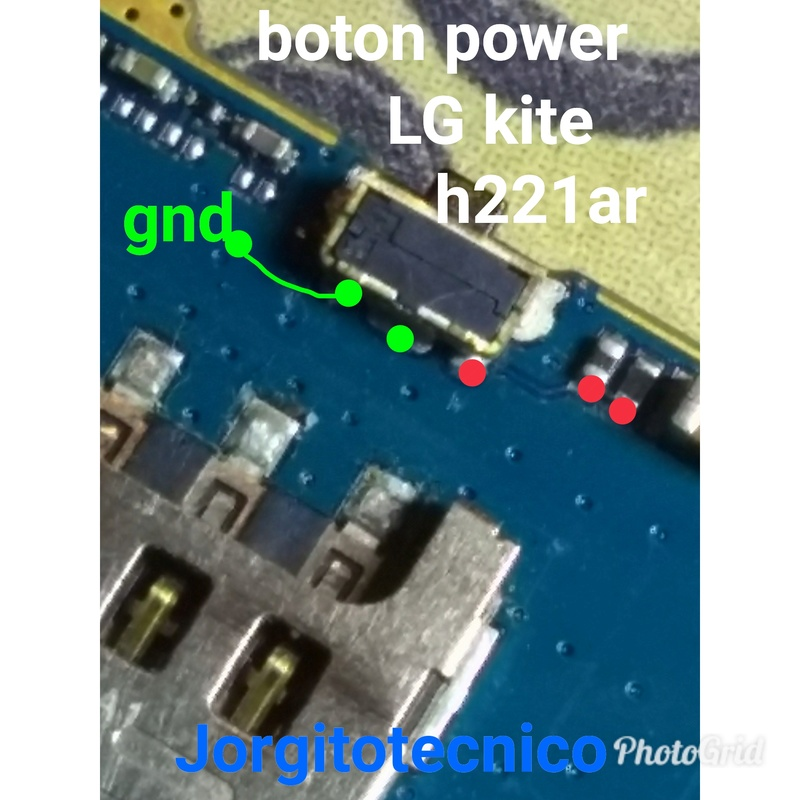 LG kite h221ar  líneas de continuidad - botón power/micrófono /centro de carga  Photog10