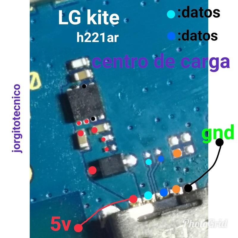 LG kite h221ar  líneas de continuidad - botón power/micrófono /centro de carga  Photog12