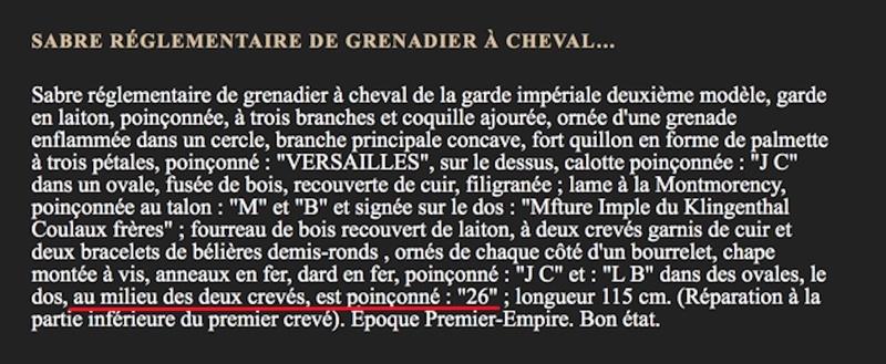 Sabre Grenadier a Cheval Garde Imperiale  - Page 2 11_cop10