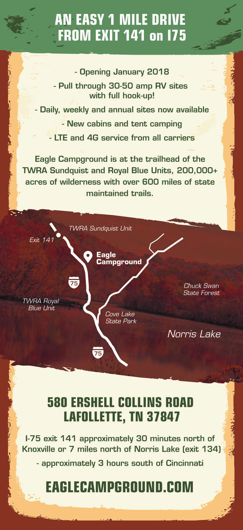 I'm Dave from Eagle Campground a new campground on the Royal Blue and Sundquist Flyer210