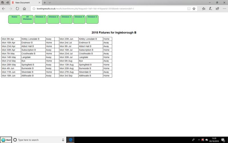 Westmorland seniors 2018 fixture list Ingleton B team. Screen18
