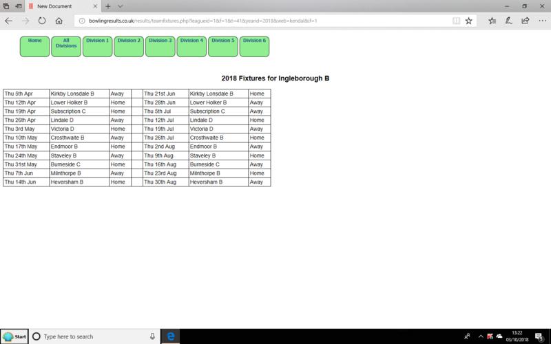 Kendal and District Fixture List  INGLETON B team 2018. Screen20