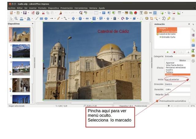 Respuesta a la consulta para el pase automático de diapositivas con animación Pantal10