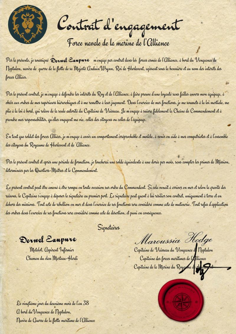 Contrat d'engagement de Dorwel Eaupure Savonn33