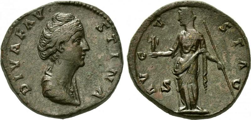 Sestercio de Faustina I. AVGVSTA - S C. Vesta estante a izq. Roma. 15344910