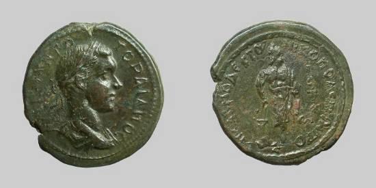 AE24 de Gordiano III - Nicopolis del Istro - Esculapio _nikop11