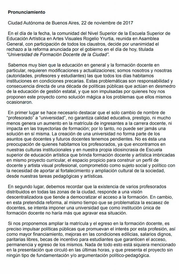 """""""Universidad Docente"""" ,cierre de 29 institutos de formación docente CABA Argentina Pronun12"""