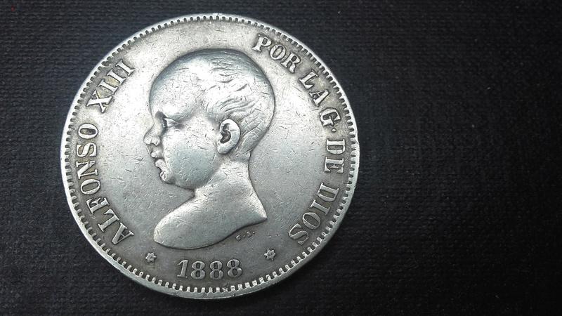 ALFONSO XIII 5 PESETAS 1888 MS M  Anvers11