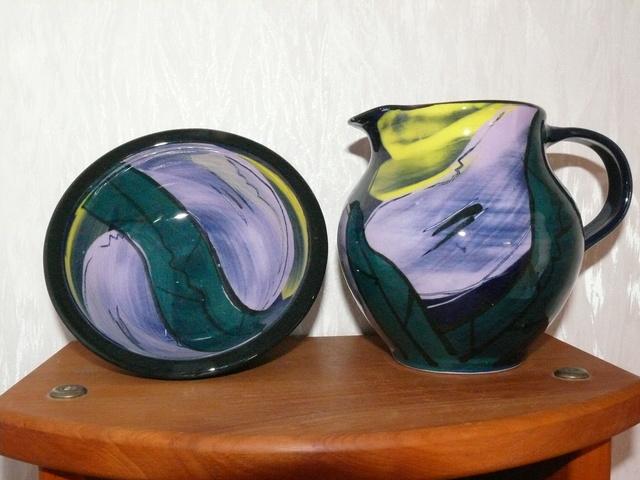 Heather Skeates jug, bowl & mark for gallery Heathe25