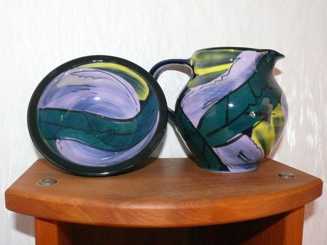 Heather Skeates jug, bowl & mark for gallery Heathe26