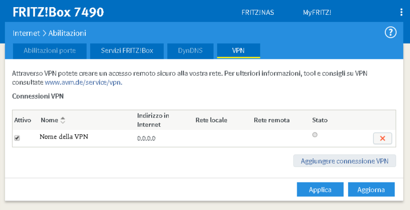 Connessione VPN IPsec ha smesso di funzionare.- Fritzb10