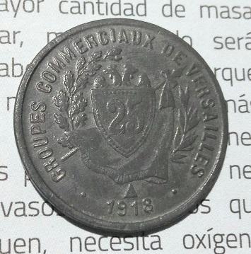 """Monnaie nécessité 25Cts """"Versailles 1918"""" ... 15a16"""