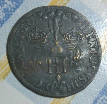 HENRICVS III  D. G. FRA. ET .POL., Escudo coronado y collar . 1914
