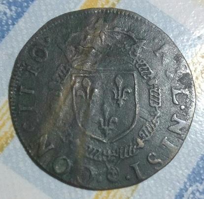 HENRICVS III  D. G. FRA. ET .POL., Escudo coronado y collar . 19a14
