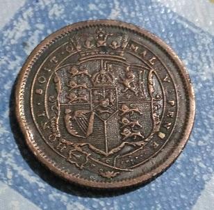 """Shilling """"nouveau style"""" de Georges III, 1820 1a23"""
