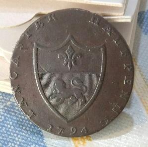 """Jeton britannique de nécessité ½ Penny """"Jean de Gand"""" ... 1a33"""