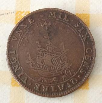 Jetón français curieux de 1691, évêque et navire 4a97