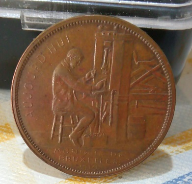 Jeton souvenir Hôtel des Monnaies de Bruxelles 1910 par A. Michaux ... 543