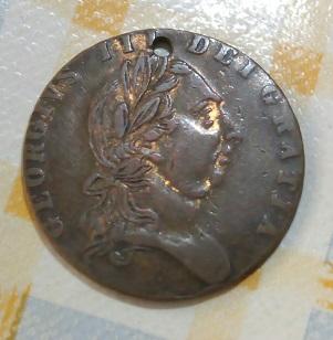 Jorge III , media guinea de cobre con agujero , 1788  593