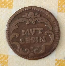 """Petite pièce de cuivre, avec aigle et la légende de """"MUT SESIN"""", sans date. 598"""