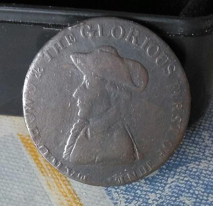 """Jeton/nécessité britannique ½ Penny """"Amiral Richard Howe"""", 1794 ... 5a39"""