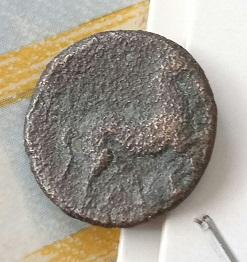 Francción ibérica en mal estado, detras de la cabeza simbolo , caballo al trote . 5a83