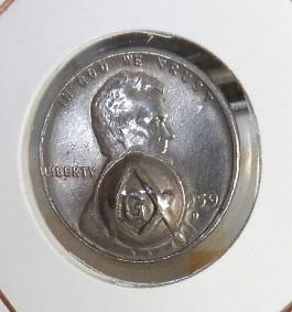 1959 D Centavo americano con contramarca 6a31