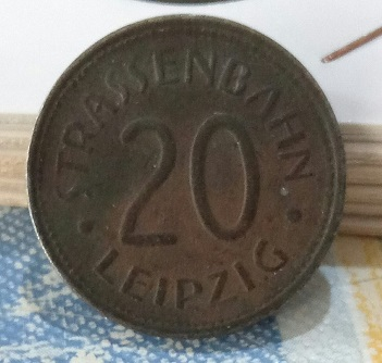 """Jeton 20 Pfennig """"Tramway de Leipzig"""" 6a32"""