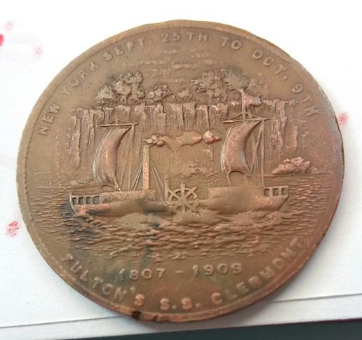 """Jeton commémoratif (de nécessité ?) américain """"Hudson–Fulton"""" ... 9a17"""